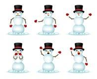 Uppsättningen för symboler för emoticonen för julsnögubbeleendet isolerade den realistiska vektorillustrationen för designen 3d royaltyfri illustrationer