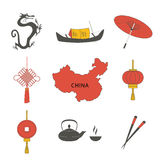 Uppsättningen för symboler för symboler för kultur för det Kina loppet isolerade den asiatiska traditionella vektorillustrationen Royaltyfri Foto