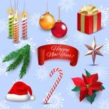 Uppsättningen för symboler för garnering för ferie för det nya året för jul isolerade den realistiska vektorillustrationen stock illustrationer