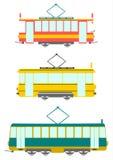 Retro spårvagnar. royaltyfri illustrationer