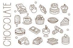 Uppsättningen med choklad, sötsaker, glass, varm kakao, kakor och muffin skissar in stil Grafiska beståndsdelar för kafeteria stock illustrationer