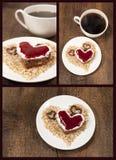 Uppsättningen med en tårta formar av hjärta royaltyfria foton