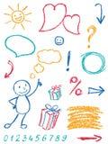 Uppsättningen och symbolet för färgpennadesignbeståndsdel som barn` s som drar roligt konstslaglängdklotter, skissar stil royaltyfri illustrationer