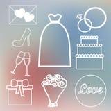 Uppsättningen på ett brölloptema i pastellfärgade skuggor Arkivbild