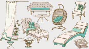 Uppsättningen skissar av möblemang för vilablåttbeiga Royaltyfri Foto