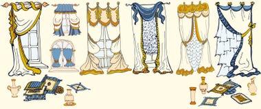 Uppsättningen skissar - gardiner - färgar blåttguling Royaltyfria Bilder