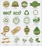 Uppsättningetiketter och emblem av ekologi och miljön Arkivbild