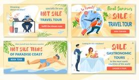 Uppsättningkuponger varma Sale och det sista sommarloppet turnerar stock illustrationer