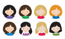 Uppsättninglägenhetdesign av det kvinnliga huvudet för enkla avatars med olik hai stock illustrationer