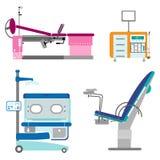 Uppsättningobstetrik och gynekologi för medicinsk utrustning royaltyfri illustrationer