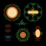 Uppsättningprydnader rundar och ovalen med stället för text Beståndsdelar av prydnaden Arkivbilder