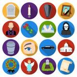 Uppsättningsymboler för begravnings- ceremoni i plan stil Stor samling av för vektorsymbol för begravnings- ceremoni illustration royaltyfri illustrationer
