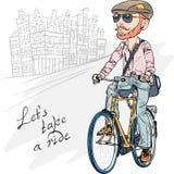 Uppsökte den moderiktiga hipsteren för vektorn grabben på en cykel Royaltyfri Foto