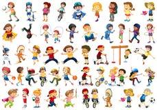Upps?ttning av barn som g?r activites royaltyfri illustrationer