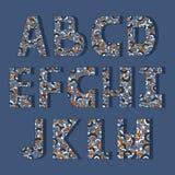 Upps?ttning av dekorativa engelska bokst?ver f?rgrikt engelska f?r alfabet royaltyfri illustrationer
