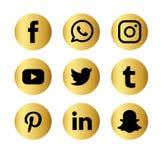 Upps?ttning av den popul?ra sociala symbolen f?r reng?ringsduk f?r massmedialogovektor Internet facebook royaltyfri illustrationer