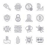 Upps?ttning av den tunna linjen slagl?ngdvektor Bitcoin och Cryptocurrency symboler stock illustrationer