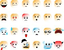 Upps?ttning av fyrkantiga emoticons vektor illustrationer