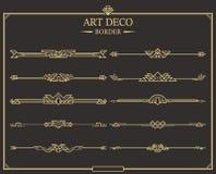 Upps?ttning av guld- calligraphic sidaavdelare f?r art d?co stock illustrationer