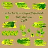 Upps?ttning av klisterm?rkear f?r designetiketter Smsa ECO, 100% BIO organiskt för sund för strikt vegetarianlantgård för mat nat royaltyfri illustrationer