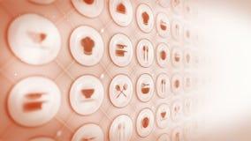Upps?ttning av restaurangsymboler Restaurangcookwarebakgrund Olik samling av symboler för affär Cg-?glasanimering