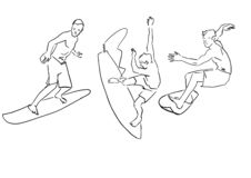 Upps?ttning av surfare Den manliga surfaren p stock illustrationer