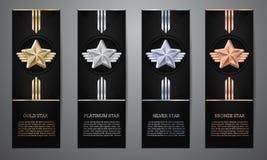 Upps?ttning av svarta baner, den guld-, platina-, silver- och bronsstj?rnan, vektorillustration L vektor illustrationer