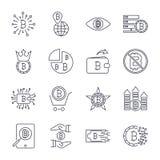 Upps?ttning av vektorbitcoinlinjen symboler Investeringar, betalningar och utbyte, internetbankr?relsen, pl?nbok, packe av pengar stock illustrationer