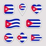 Upps?ttning f?r Kubaflaggavektor Kubansk klistermärkesamling Isolerade geometriska symboler Emblem f?r nationella symboler f?r la stock illustrationer