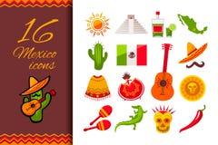 Upps?ttning f?r Mexico l?genhetsymbol royaltyfri illustrationer