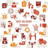 Upps?ttning f?r snabb leverans f?r mall logistisk i plan stil Vektorsymboler f?r reng?ringsduk, infographic eller tryck royaltyfri illustrationer