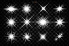 Upps?ttning Skinande stjärna, solpartiklarna royaltyfri illustrationer