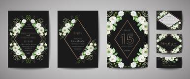 Upps?ttningen av br?llopinbjudan som ?r blom- inviterar, tacka dig, lantlig kortdesign f?r rsvp med garnering f?r guld- folie Mod stock illustrationer
