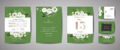 Upps?ttningen av br?llopinbjudan som ?r blom- inviterar, tacka dig, lantlig kortdesign f?r rsvp med garnering f?r guld- folie Mod vektor illustrationer