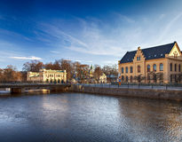 Uppsala buildings by the river Stock Photography