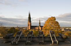 Uppsala cathedral. In Sweden and old guns Royalty Free Stock Photography