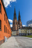 Uppsala Cathedral in the centre of city Royalty Free Stock Image