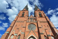 Uppsala cathedral. The detail of Uppsala cathedral stock photos