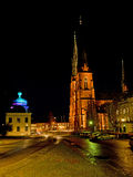 Uppsala Cathedral and Gustavianum by night Royalty Free Stock Photos