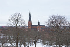 Uppsala Cathedral by winter Stock Image