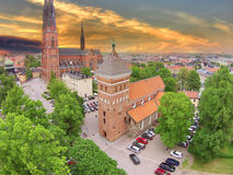 Uppsala 2 Churches. Aerial photo of the 2 churches in the centre of Uppsala Stock Photos