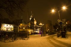 Nostalgic and beautiful night view at Uppsala city stock photos