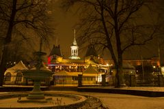Winter Night view of beautiful old city uppsala stock image
