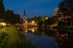 Uppsala por noche Fotografía de archivo libre de regalías