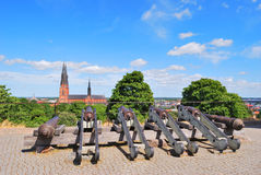 Uppsala, Sweden. Cannons in front of the Uppsala Castle stock images
