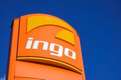 Ingo, gas / filling station sign. stock photo