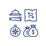 Uppskatta översikten, sökandeobjekt, laghandlingleken, affärsföretagbegreppet, linjen symboler Royaltyfria Bilder