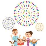 Uppskatta fyrverkerier i förälder och barn Arkivbild