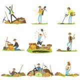 Uppskatta jakt, folk i sökande av skatten Detaljerade illustrationer för tecknad film vektor illustrationer