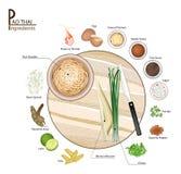 Uppståndelse Fried Noodles för block för 16 ingredienser thailändsk eller thailändsk vektor illustrationer
